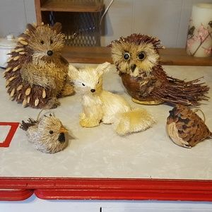5 Bottle Brush Animals Fox Birds Owl Hedgehog